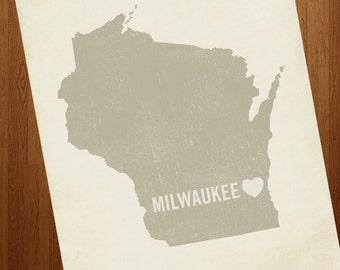 I Love Milwaukee 8x10 Art Print - Wisconsin City State Heart