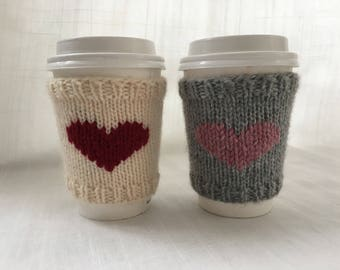 Knit Coffee Sleeve, Coffee Cozy, Heart, Cup Cozy, Teacher gift, Stocking Stuffer, Hostess Gift, Cup Sleeve, Monogram Cozy