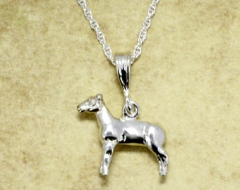 Show Lamb Necklace, 925 Sterling Silver Champion Show Lamb  Necklace, Show Sheep  Necklace