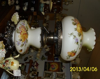 Large-Antique Hand Painted Hurricane Table Lamp/Lighting-White Glass/Multi Colored Floral Design/Brass-Big
