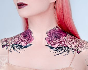 Rose of Sharon Small Temporary Tattoo Set