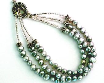 Freshwater Pearl Triple Strand Bracelet - Silver/Grey