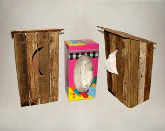 Rustic Decor Outhouse Tall Tissue Box Cover, Reclaimed Rough-Cut Home Decor Tissue Holder