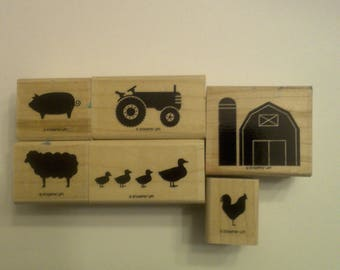 Stampin up set Barnyard Buddies. Wood mounted set of 6 stamps.