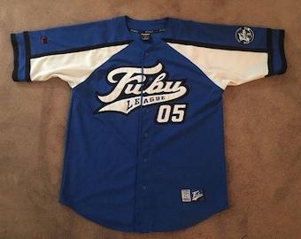 FUBU jersey, vintage blue t-shirt of 90s hip-hop clothing, 1990s hip hop, og, gangsta rap, size L Large RARE!
