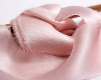 hand-dyed ribbons in pinky mink silk charmeuse, stationery ~ weddings ~ bouquets ~ gifts ~ paper crafts ~ styling