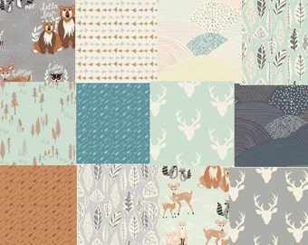 Hello Bear, Cotton Fabric Bundle, Baby Fabric, Woodland Nursery, Art Gallery Fabrics, Deer, Bear, Fox, Owls, Baby Shower Gift, Mint, Gray