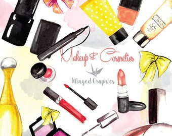 Cosmetics and make up clip art: hand painted watercolor makeup. ( beauty, fashion blog, lipstick, lipgloss, perfume, nail polish, lotion)