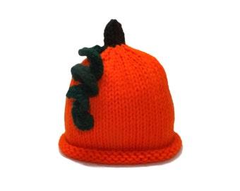 Knitted baby pumpkin halloween hat. Photography prop.