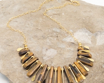 Tiger Eye and Gold Vermeil Bib Necklace