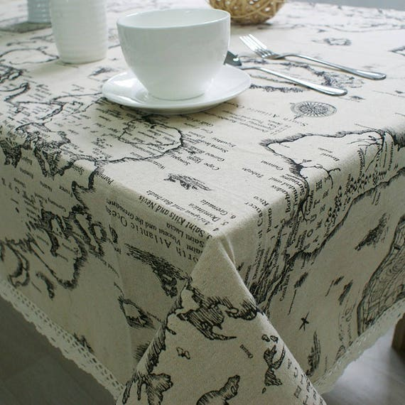 World map linen fabric world map curtain panel cotton linen 1752 gumiabroncs Gallery
