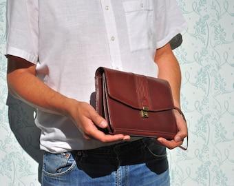 Leather wristlet, mens leather wristlet, brown leather wristlet, wrist bag, leather purse, brown leather bag