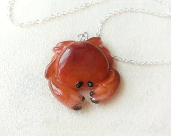 Crab necklace, animal totem, animal necklace, polymer clay jewelry, sea ceature necklace, marine pendant, crab jewelry, miniatures