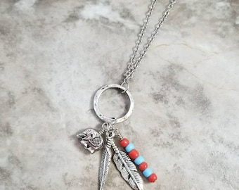 Elephant, and feathers, charm necklace