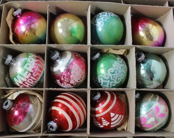 Shiny Brite box of Christmas Tree Ornaments LOT of 12 Mercury Glass Stenciled  Strips VINTAGE by Plantdreaming