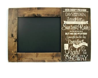 Chalkboard Large Rustic Wood Framed Christian Gift Wall Decor - God's Promise (#1304-CB)
