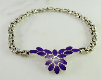 Old Mexico 950 Sterling Purple Stone Inlay Necklace 17""