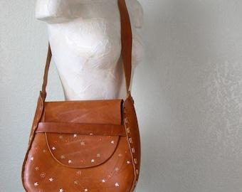 Vintage Tooled Leather Boho Meadow Purse