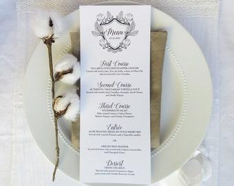 Wedding Menu   reception menu   dinner menu   table menu - Style 13 - Long Menu - Botanical Crest Collection