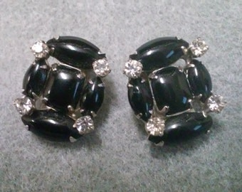 Vintage Black and Rhinestone Wiess Clipback Earrings