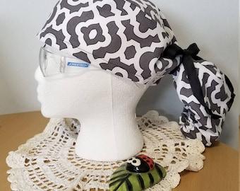 Surgical scrub nurse OR hat grey pattern ponytail