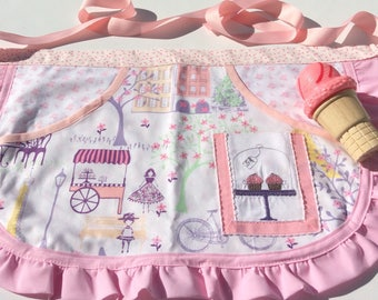 Childrens apron, SALE, CPSC Certified, cupcake apron, apron, french, bakery apron, childs apron, girls birthday gift, Summer fun,baking apro