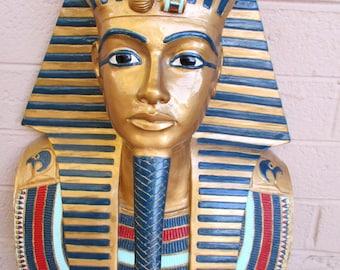 Vintage King Tutankhamun Tut Sculpture Egyptian Pharaoh 3D Face Mask Wall Hanging Mummy Replica Figure by Cormany 1973