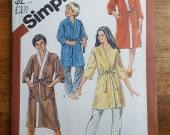 Vintage Simplicity 5596 Every-Body Kimono Robe in Two Lengths Sewing Pattern Size Large