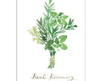 Basil and rosemary Kitchen art print, Watercolor painting, Herb poster, 5X7 Green culinary artwork, Home decor, Condiments, Kitchen wall art