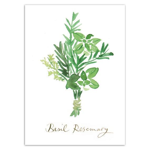 affiche cuisine basilic romarin herbes aromatiques. Black Bedroom Furniture Sets. Home Design Ideas