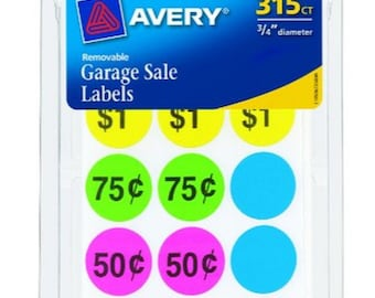 "Neon LABELS rOund Garage & Estate Sale Price tag Removable Self Adhesive Label colored STICKERS tags 3/4"" 315 count AVERY 6725"