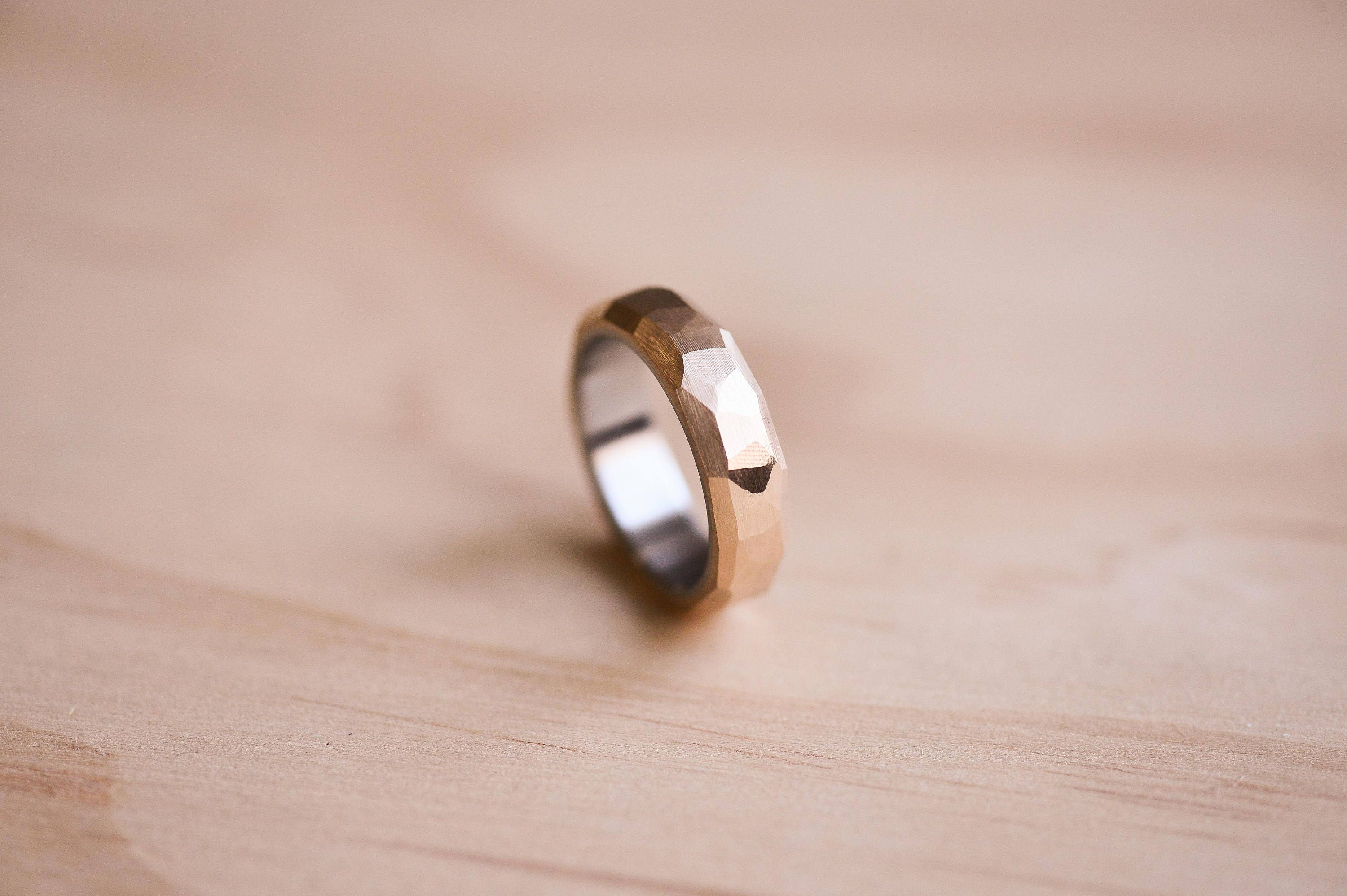 Faceted Bronze Ring with a Stainless Steel Liner