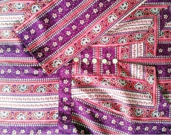VINTAGE/Nightie/Casual Dress/India/cotton/Hand Block/Kurta/Tunic/S size/cotton/purple/pink/Ethnic print/Boheme/Boho/Gypsy/Free Shipment