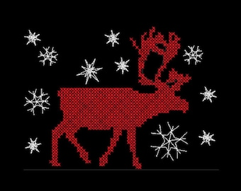 Cross Stitch Reindeer machine embroidery design multiple sizes and formats