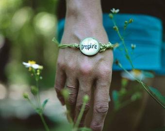 Inspire Mantra Bracelet Ajdustable Watercolor Bracelet Inspirational Jewelry