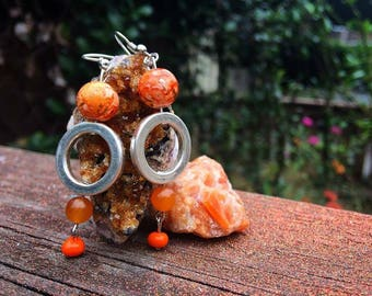 Orange O Dangle Earrings