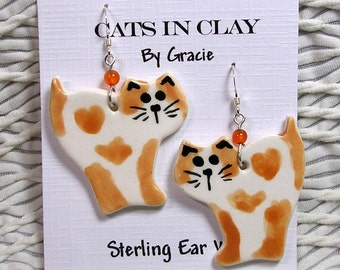 New Design Tabby Cat And Heart French Wire Earrings Handmade In Kiln Fired Clay