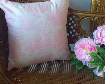 Pink Toile Pillow Cover 18X18 Pillow Decor Feminine Baby Nursery Girls Shabby Chic Romantic French Country Farmhouse Cottage Style Decor