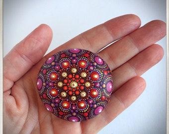 Stone Mandala dark Red, dot art, painted stone, painted rock, dot mandala