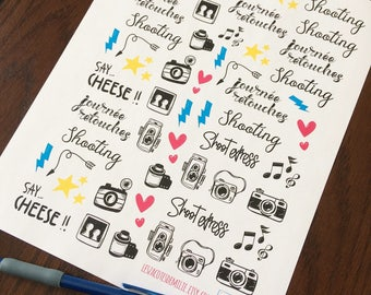 Set of stickers for photographers, ideal for diaries or planners