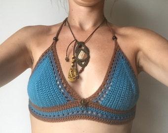 blue festival hippie boho bohemian crochet halter top bikini