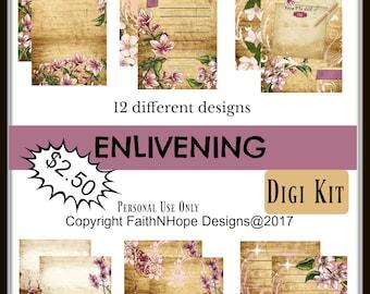 Enlivening-Junk Journal-instant downloads-printable-prayer journal- journal-journal kit-cherry blossom-shabby chic
