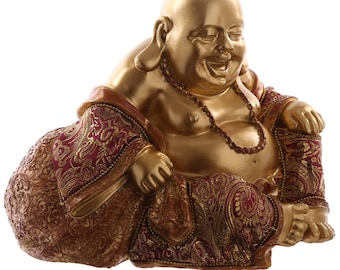 Statuette Buddha sits hand on knee-red and gold effect