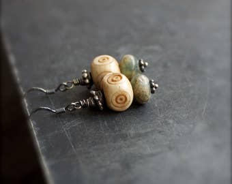 Aquaterra Jasper Stone Earrings - Tan Cream Bone, Mint Green, Sterling Silver, Gemstone Boho Jewelry