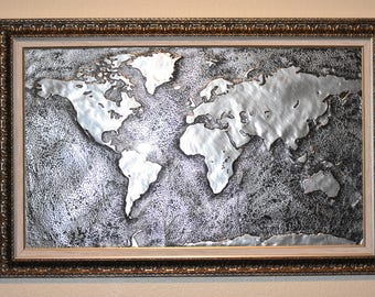 The World Map -  Handmade with aluminum, framed in Plexiglas 32'' x 21''