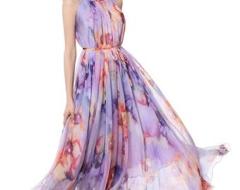 60 Colors Chiffon Purple Floral Flower Long Party Evening Wedding Lightweight  Maternity Dress Sundress Summer Dress Bridesmaid  Maxi Skirt