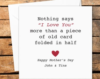 Personalised Handmade Happy Mothers Day Birthday Card Mum Funny Rude Naughty Message I Love You Joke Phrase Heart