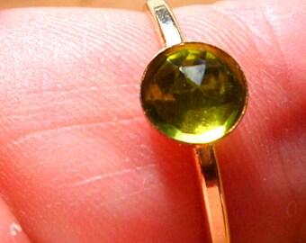 peridot gold ring, 14k gold 6mm stacking ring rosecut peridot gemstone,  August birthday