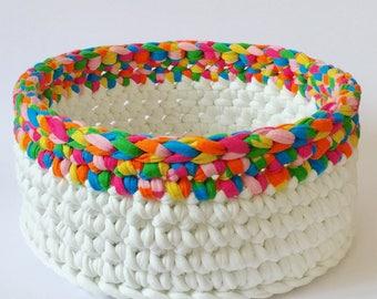 Rainbow storage basket, small toy storage, bathroom storage, bread, fruit basket, recycled, natural yarn