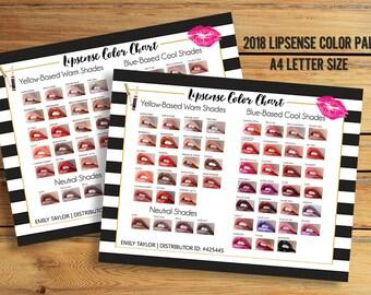 LipSense Color Chart - 50 LipSense Colors - Lipsense Color Palette - LipSense 2018 - Color Chart A4 Size - You Print
